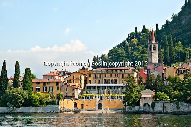 Varenna, a town on Lake Como, Italy as seen from the water on the South side of the town and a view of Hotel Royal Victoria