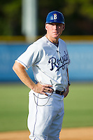 Burlington Royals manager Tommy Shields (19) coaches third base during the game against the Greeneville Astros at Burlington Athletic Park on June 29, 2014 in Burlington, North Carolina.  The Royals defeated the Astros 11-0. (Brian Westerholt/Four Seam Images)