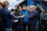 team SKY manager Sir David Brailsford (GBR) being interviewed after the team won its first ever Monument Classic (with Wout Poels)<br /> <br /> 102nd Li&egrave;ge-Bastogne-Li&egrave;ge 2016
