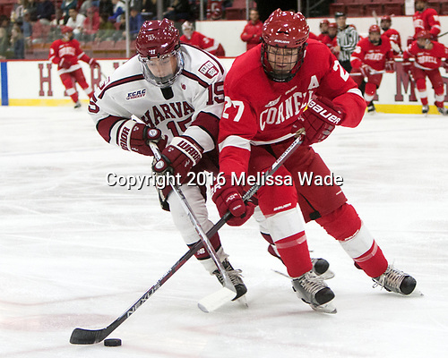 Seb Lloyd (Harvard - 15), Patrick McCarron (Cornell - 27) - The Harvard University Crimson defeated the visiting Cornell University Big Red on Saturday, November 5, 2016, at the Bright-Landry Hockey Center in Boston, Massachusetts.