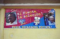 FSLN campaign poster on the side of a building in Moyogalpa on Isla de Ometepe, Nicaragua. Taken during the 2006 presidential elections campaign.