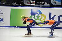 SHORTTRACK: DORDRECHT: Sportboulevard Dordrecht, 24-01-2015, ISU EK Shorttrack, Relay, Yara VAN KERKHOF (NED | 138), Lara VAN RUIJVEN (NED) | #139), ©foto Martin de Jong