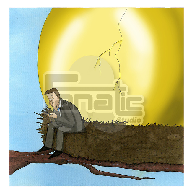 Businessman sitting on a bird's nest waiting for the golden egg to hatch