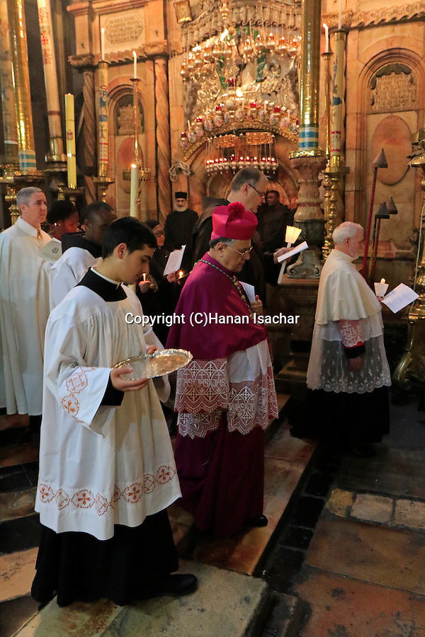 Israel, Jerusalem Old City, the Latin Patriarch of Jerusalem Fouad Twal presides over the First Saturday of Lent ceremony at the Church of the Holy Sepulchre