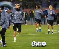 Cristiano Ronaldo  during training session  at eve  the Champions League Group  soccer match between SSC Napoli and Real Madrid   at the San Paolo  Stadium inNaples March 06, 2017
