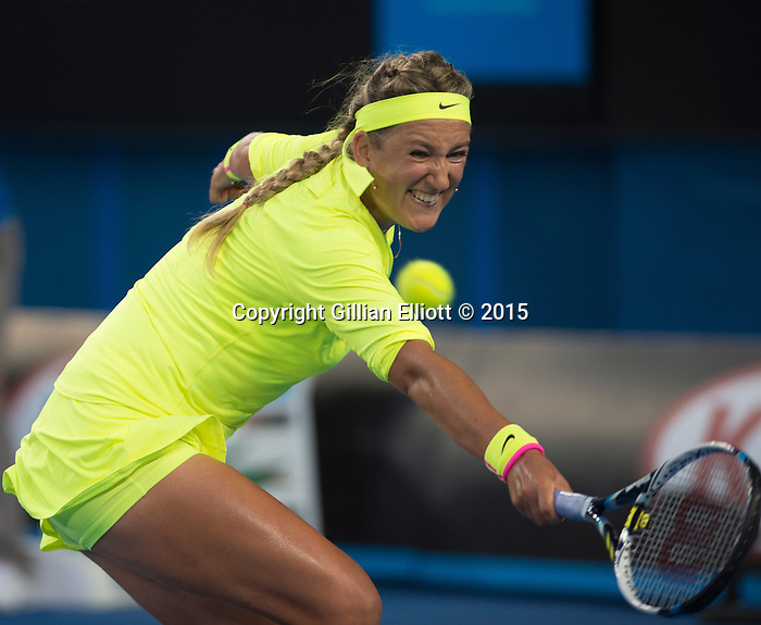 Victoria Azarenka (BLR) defeats Caroline Wozniacki (DEN) 6-4, 6-2 at the Australian Open being played at Melbourne Park in Melbourne, Australia on January 22, 2015