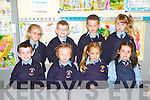 FIRST TIMERS: The junior infants of Killury NS, Causeway enjoying their first day of school on Thursday seated l-r: Luke Dillane, Katie Egan, Clodagh Dooley and Edel O'Hara. Back l-r: Grace Conway, Daniel Dineen, Berndan Long and Laura Kate Spillane.
