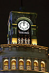 The famous clock of Wako department store shows 24:00 local time in Tokyo's Ginza shopping district, Japan on May  1, 2019, the first day of the Reiwa Era. (Photo by Naoki Nishimura/AFLO)