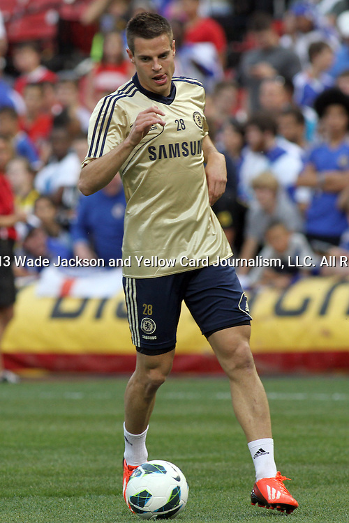22 May 2013:  Cesar Azpilicueta (28)(ESP) of Chelsea.  Chelsea F.C. practice session in preparation for an exhibition match against Manchester City at Busch Stadium in Saint Louis, Missouri.