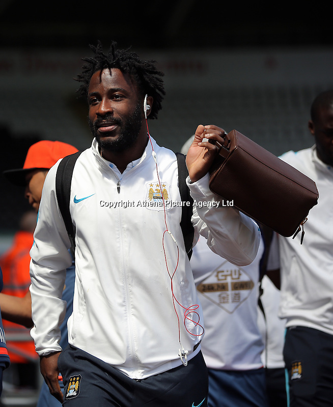 Wilfried Bony of Manchester City arrives during the Swansea City FC v Manchester City Premier League game at the Liberty Stadium, Swansea, Wales, UK, Sunday 15 May 2016
