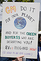 A protest sign at a Step It Up 2007 rally addressing increased vehicle fuel efficiency to help to reduce CO2 emissions in a relation to climate changes. The sign addresses an American auto manufacturer General Motors (GM), reading: 'GM Do it For Our Planet and for the Green Buyers$$ Who Are Deserting You, EVs & Plug-Ins Now! (I Used to Be GM Loyal).' San Rafael, California, USA