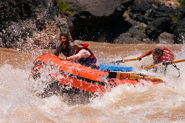 Rafters row through LAVA FALLS RAPID a Class 9 considered the toughest on the Colorado River at mile 179 - GRAND CANYON NATIONAL PARK, ARIZONA...