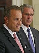 Washington, D.C. - June 19, 2007 -- United States President George W. Bush, right, announces former US Representative Jim Nussle (Republican of Iowa), left, as director of the Office of Management and Budget (OMB) to succeed Rob Portman, Tuesday, June 19, 2007 at The White House in Washington DC. <br /> Credit: Chris Kleponis - Pool via CNP