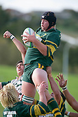 Pukekohe's W Crisp takes lineout ball.Counties Manukau Premier Club Rugby, Pukekohe v Manurewa  played at the Colin Lawrie field, on the 17th of April 2006. Manurewa won 20 - 18.