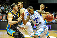 GRONINGEN - Basketbal, Donar - Den Helder Suns, Dutch Basketbal League, seizoen 2018-2019, 20-04-2019,Donar speler Jason Dourisseau met Den Helder speler Steve Harris