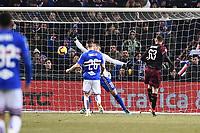 Patrick Cutrone of Milan scores a goal <br /> Genova 12-1-2019 Stadio Marassi <br /> Football Italy Cup 2018/2019 Sampdoria - Milan Foto Image Sport  / Insidefoto