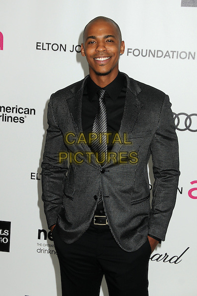 Mehcad Brooks.20th Annual Elton John Academy Awards Viewing Party held at West Hollywood Park, West Hollywood, California, USA..February 26th, 2012.half length black grey gray suit jacket tie shirt .CAP/ADM/BP.©Byron Purvis/AdMedia/Capital Pictures.