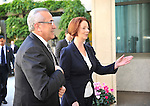 Michel Sleiman, President of Lebanon, is welcomed by Australian Prime Minister Julia Gillard to Parliament House, Canberra, on Monday April 16th 2012. AFP PHOTO / Mark GRAHAM POOL