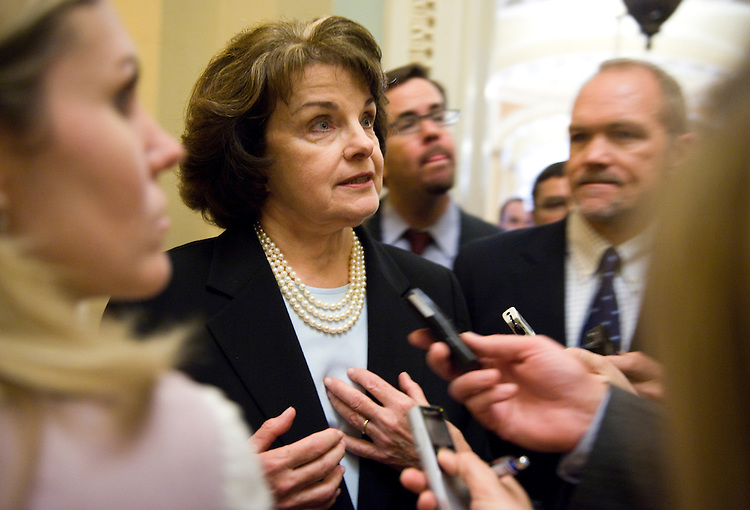 Sen. Dianne Feinstein, D-Calif., speaks to the media after the senate luncheons, April 21, 2009.