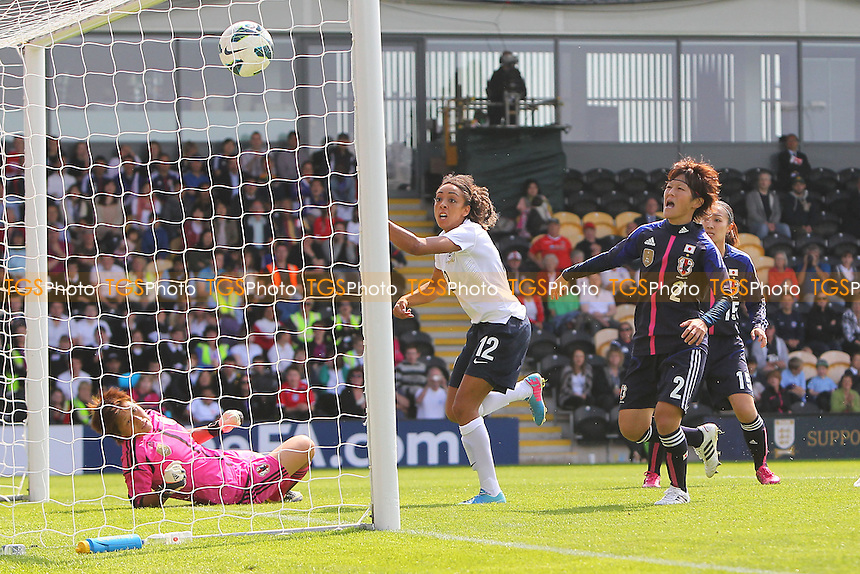 Jess Clarke finds the net for England but her goal is ruled out for offside - England Women vs Japan Women - Friendly Football International at the Pirelli Stadium, Burton Albion FC - 26/06/13 - MANDATORY CREDIT: Gavin Ellis/TGSPHOTO - Self billing applies where appropriate - 0845 094 6026 - contact@tgsphoto.co.uk - NO UNPAID USE