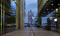 Modern buildings of More London Place with a tower of Tower Bridge and a fragment of the City Hall visible in the background, Greater London, UK. Picture by Manuel Cohen
