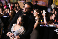 "WESTWOOD, LOS ANGELES, CA, USA - MARCH 18: Lisa Bonet, Jason Momoa at the World Premiere Of Summit Entertainment's ""Divergent"" held at the Regency Bruin Theatre on March 18, 2014 in Westwood, Los Angeles, California, United States. (Photo by Xavier Collin/Celebrity Monitor)"