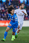 Dani Carvajal of Real Madrid and Marc Cucurella of Getafe FC during La Liga match between Getafe CF and Real Madrid at Coliseum Alfonso Perez in Getafe, Spain. January 04, 2020. (ALTERPHOTOS/A. Perez Meca)