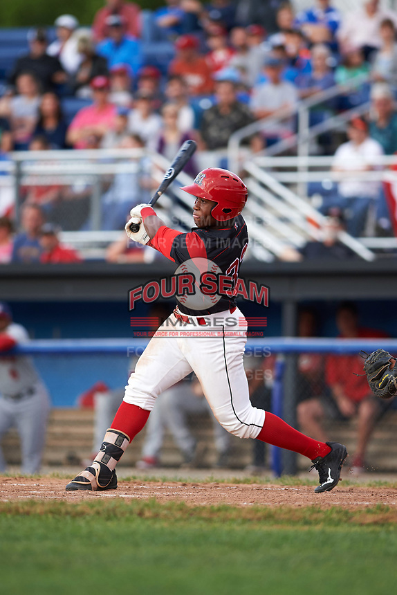 Batavia Muckdogs designated hitter Terry Bennett (33) at bat during a game against the Auburn Doubledays on June 19, 2017 at Dwyer Stadium in Batavia, New York.  Batavia defeated Auburn 8-2 in both teams opening game of the season.  (Mike Janes/Four Seam Images)