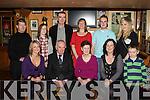 John O'Connor Woodlawn park Killarney celebrates his 80th birthday with his family in Lord Kenmare's Killarney on Saturday night front row l-r: Rosemary, John, Nora, Marian, Muiris O'Connor. Back row: Lawrence Fleming, Aine, John, Noelle O'Connor, Gavin Culloty and Shauna Culloty .