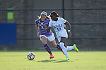 Toni Payne (10) of the Duke Blue Devils keeps the ball away from Annie Redovian (5) of the High Point Panthers during first half action at Koskinen Stadium on September 11, 2016 in Durham, North Carolina.  The Blue Devils defeated the Panthers 4-1.   (Brian Westerholt/Sports On Film)