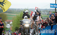 Fabian Cancellara (CHE/TrekFactoryRacing) up the final ascent of the Paterberg trying hard (and succeeding) to stay in Sep Vanmarcke's  (BEL/Belkin) wheel just ahead of him<br /> <br /> Ronde van Vlaanderen 2014