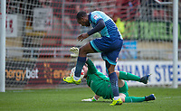 Myles Weston of Wycombe Wanderers scores his goal past Goalkeeper Sam Sargeant of Leyton Orient during the Sky Bet League 2 match between Leyton Orient and Wycombe Wanderers at the Matchroom Stadium, London, England on 1 April 2017. Photo by Andy Rowland.