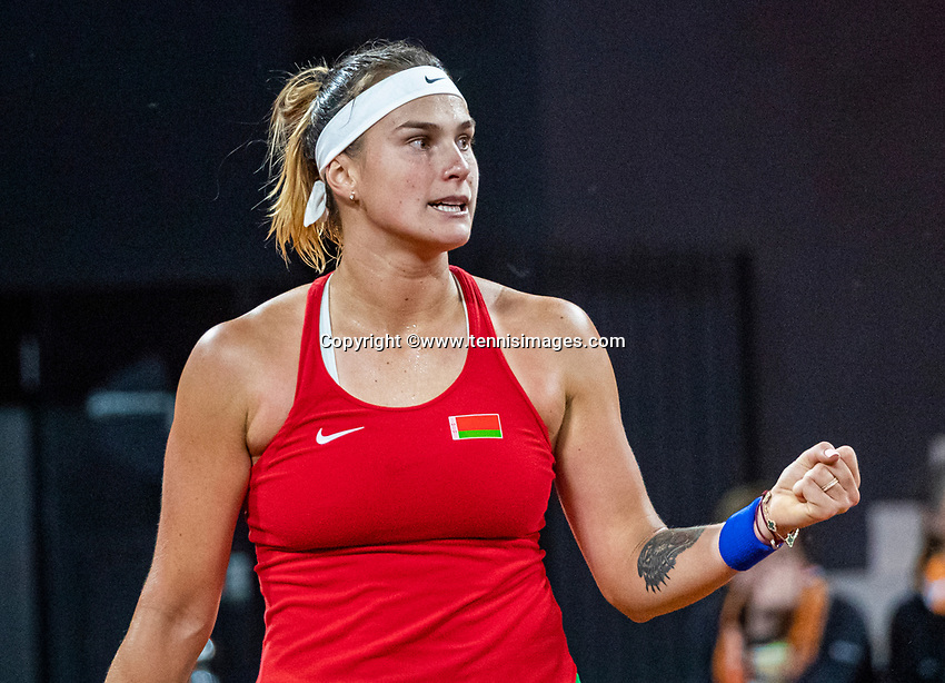 The Hague, The Netherlands, Februari 7, 2020,    Sportcampus, FedCup  Netherlands -  Balarus, Seccond match on friday:  Aryna Sabalenka (BLR) celebrates her vicory over Rus and eqals the score 1-1.<br /> Photo: Tennisimages/Henk Koster