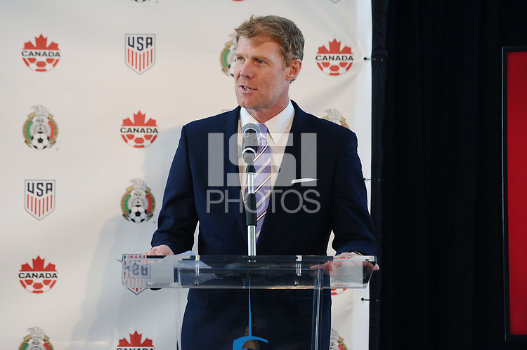 `NEW YORK, New York - Monday, April 10, 2017: CONCACAF member nations the United States, Canada and Mexico make a historic announcement regarding intention to bid for the 2026 FIFA World Cup at One World Observatory at One World Trade Center in New York City.