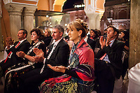 Prominent guests and audiences applaud violinist Niki Vasilakis during her solo violin recital at the OzFest Gala Dinner in the Jaipur City Palace, in Rajasthan, India on 10 January 2013. Photo by Suzanne Lee