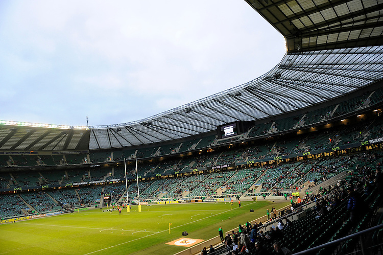 General view of LV= corporate branding at the Aviva Premiership match between Harlequins and Saracens at Twickenham on Tuesday 27 December 2011 (Photo by Rob Munro)