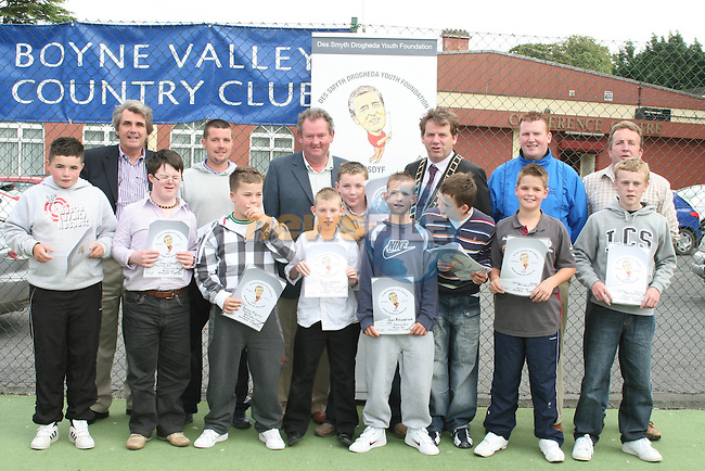 Ciaran Downey, Conor O'Dowd, Dean Fitzpatrick, Tommy Bracken, Dean Walsh, James McGinn, Niall Connor and Nathan Judge at the Presentation for the Welcome Youth Project with the Des Smyth Youth Foundation...Photo NEWSFILE/Jenny Matthews.(Photo credit should read Jenny Matthews/NEWSFILE)....This Picture has been sent you under the condtions enclosed by:.Newsfile Ltd..The Studio,.Millmount Abbey,.Drogheda,.Co Meath..Ireland..Tel: +353(0)41-9871240.Fax: +353(0)41-9871260.GSM: +353(0)86-2500958.email: pictures@newsfile.ie.www.newsfile.ie.FTP: 193.120.102.198.