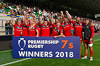 Gloucester Rugby celebrate winning the Plate. Premiership Rugby 7s (Day 2) on July 28, 2018 at Franklin's Gardens in Northampton, England. Photo by: Patrick Khachfe / Onside Images