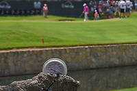 A thermometer near the lake on 18 reads a steamy 110 degrees as play is underway midday during round 3 of the Fort Worth Invitational, The Colonial, at Fort Worth, Texas, USA. 5/26/2018.<br /> Picture: Golffile | Ken Murray<br /> <br /> All photo usage must carry mandatory copyright credit (&copy; Golffile | Ken Murray)