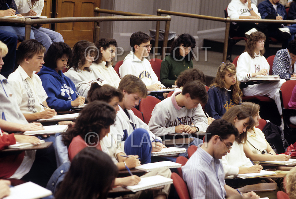 Cambridge, MA, September 1986. Harvard University, established in 1636, is the oldest institution of higher learning in the United States. Harvard's history, influence, and wealth have made it one of the most prestigious universities in the world. Students attending one of the several classes offered by Harvard University.