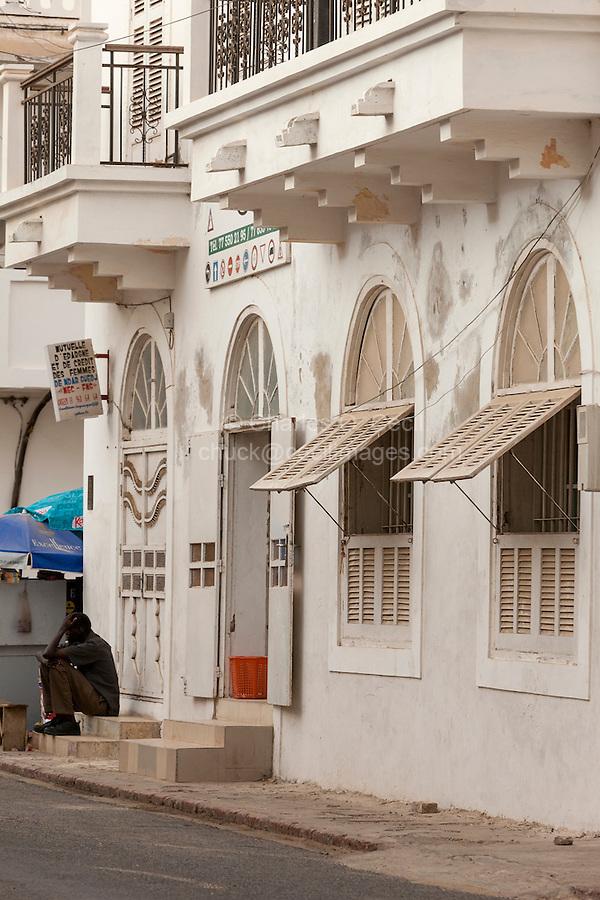Senegal, Saint Louis.  Office Entrance, Colonial Era Building.  Cooperative Credit Bureau for Women.