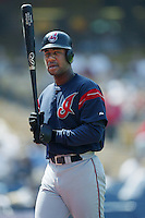 Ricky Gutierrez of the Cleveland Indians bats during a 2002 MLB season game against the Los Angeles Dodgers at Dodger Stadium, in Los Angeles, California. (Larry Goren/Four Seam Images)