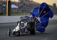 May 18, 2012; Topeka, KS, USA: NHRA top alcohol dragster driver XXXX during qualifying for the Summer Nationals at Heartland Park Topeka. Mandatory Credit: Mark J. Rebilas-