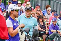 Charley Hull (ENG) and Sei Young Kim (KOR) look over their tee shots on 1 during Saturday's third round of the 72nd U.S. Women's Open Championship, at Trump National Golf Club, Bedminster, New Jersey. 7/15/2017.<br /> Picture: Golffile | Ken Murray<br /> <br /> <br /> All photo usage must carry mandatory copyright credit (&copy; Golffile | Ken Murray)