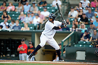 Empire State Yankees outfielder Chris Dickerson #24 at bat during a game against the Indianapolis Indians at Frontier Field on August 4, 2012 in Rochester, New York.  Empire State defeated Indianapolis 9-8 in ten innings.  (Mike Janes/Four Seam Images)