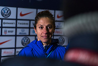 COLUMBUS, OH - NOVEMBER 07: Carli Lloyd #10 of the United States talks to the media during a game between Sweden and USWNT at Mapfre Stadium on November 07, 2019 in Columbus, Ohio.