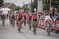 Peter Sagan (SVK/Tinkoff) & André Greipel (DEU/Lotto-Soudal) cross the finish line simultaneously.<br /> The foto-finish needed to be checked before Sagan would be declared stage (and new overall) winner <br /> <br /> 12th Eneco Tour 2016 (UCI World Tour)<br /> stage 4: Aalter - St-Pieters-Leeuw (202km)