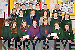 Fifth and sixth class pupils from Kilgobnet National School Beaufort, pictured with their school principal Bernie Costello as they presented two cheques totalling ?1,120 to Bridget Richardson and Mary Healy, who accepted the cheques on behalf of the Childrens Hospital Crumlin, in the school on Wednesday..