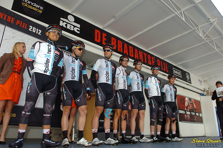 The SpiderTech powered by C10 boys before the start of De Brabantse Pijl (La Flèche Brabançonne) in Belgium on April 11, 2012.