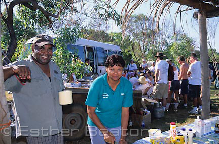 Colin and Maria Morgan, owners of  Wundargoodie Aboriginal Safaris, preparing lunches for tour group, Cape Leveque, WA.